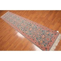 """Romanian Kashan Runner Hand Knotted Rug  (2'6""""x11'7"""") - Blue/Pink - 2'6"""" x 11'7"""""""