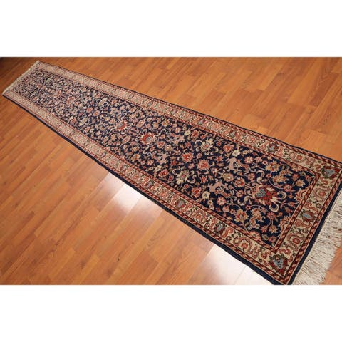 """Pictorial Romanian Kashan Runner Hand Knotted Wool Rug (2'6""""x13'9"""") - Midnight Blue/Rusty Orange - 2'6"""" x 13'9"""""""