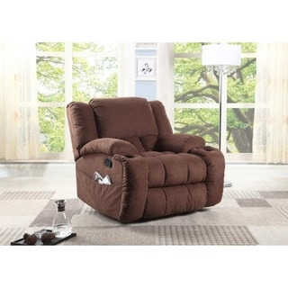 Oversized Plush Microfiber Glider Recliner, Chocolate