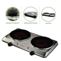 Ovente BGI202S Countertop Infrared Burner, Ceramic Double Plate Cooktop, Silver