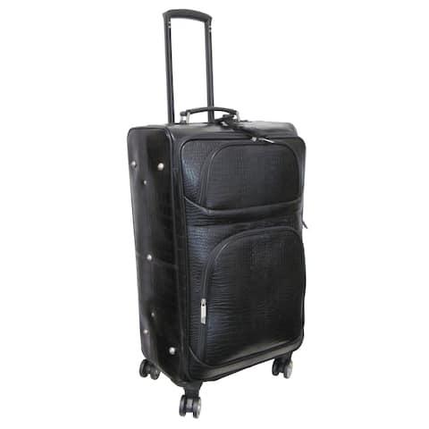 "Amerileather Black Leather Croco-Print 27"" Luggage on Spinner Wheels"