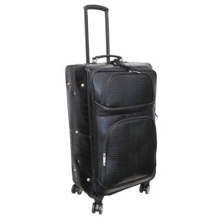 "Amerileather Black Leather Croco-Print 27"" Luggage on Spinner Wheels"