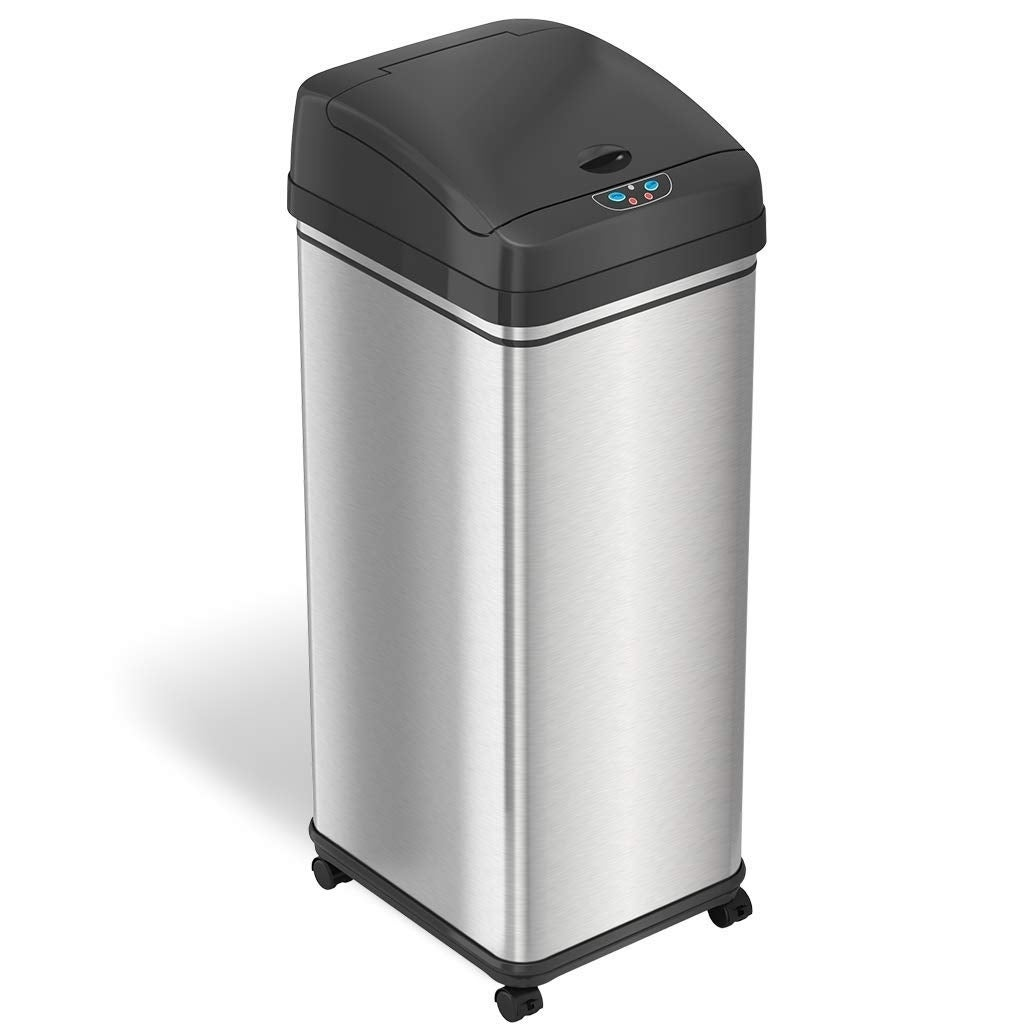 Superbe ITouchless Glide 13 Gallon Sensor Trash Can With Wheels And Odor Control  System, Stainless Steel