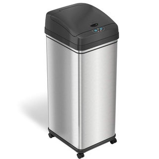 iTouchless Glide 13 Gallon Sensor Trash Can with Wheels and Odor Control System, Stainless Steel