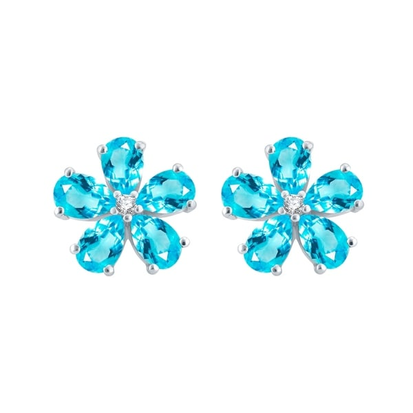fbdf91edf Shop Sterling Silver with Natural Sky Blue Topaz Flower Stud Earring ...
