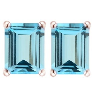 Gold Over Sterling Silver with Natural Sky Blue Topaz Emerald Cut Stud Earring