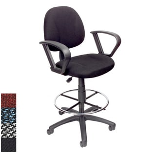 Boss Adjustable Black Loop Arm Drafting Stool with Wheel Casters