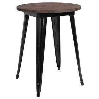 """Offex 24"""" Round Black Metal Indoor Table with Walnut Rustic Wood Top - Brown"""