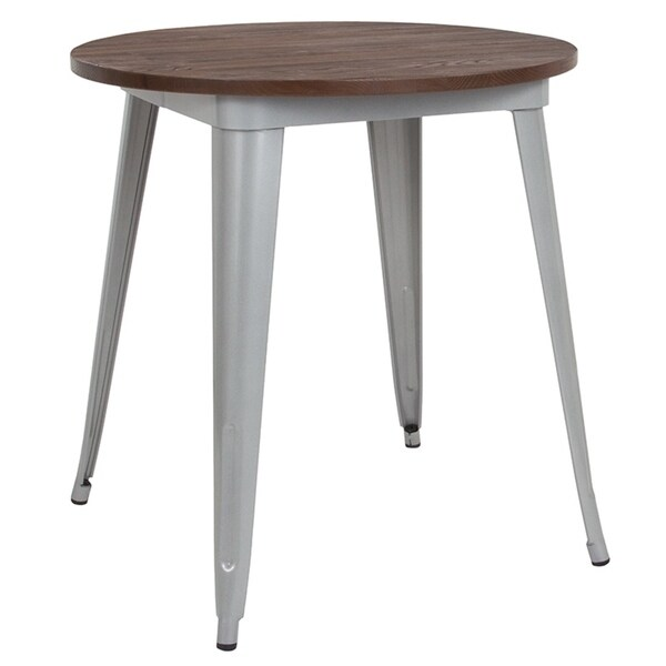 Shop Offex 26 Quot Round Silver Metal Indoor Table With Walnut
