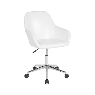 Offex Cortana Home and Office Mid Back Task Chair in White Leather