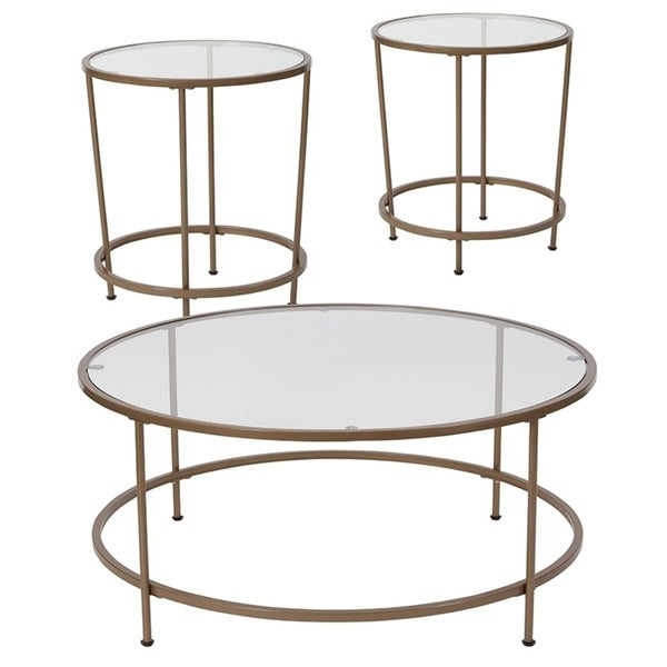 shop offex astoria collection 3 piece coffee and end table set with glass top and matte gold. Black Bedroom Furniture Sets. Home Design Ideas