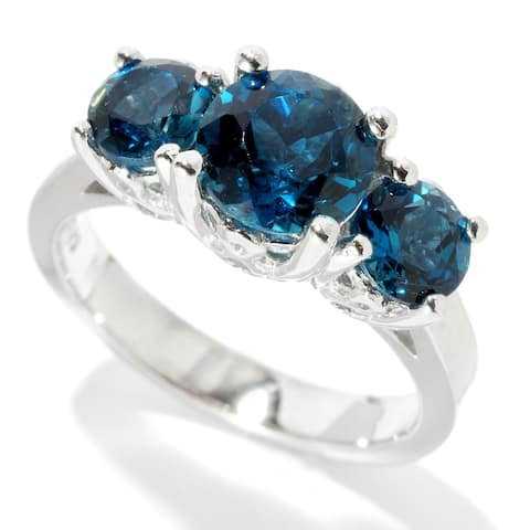 Sterling Silver with Natural London Blue Topaz Three-Stone Ring
