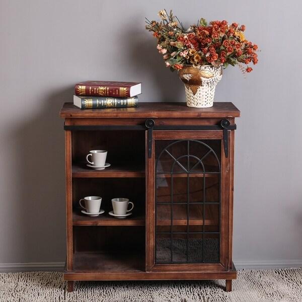 Shop Classic Design Chestnut Finish Wood/Glass Sliding
