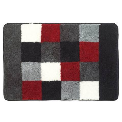 Sealskin Bathroom Rug 35x24 Rosalyn Gray Red White Fabric
