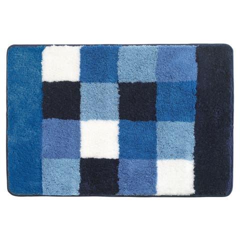 Sealskin Bathroom Rug 35x24 Rosalyn Blue And White Fabric - 2' x 3'