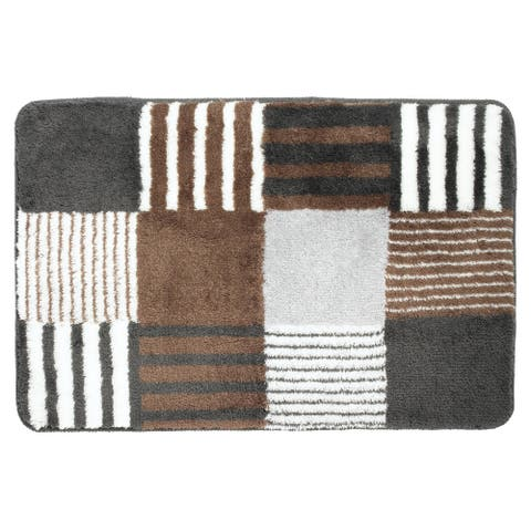 Sealskin Bathroom Rug 35x24 Carre Brown And White Fabric