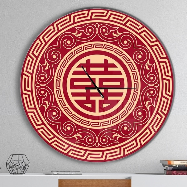 Designart 'Double Happiness Asian Decoration' Oversized Contemporary Wall CLock