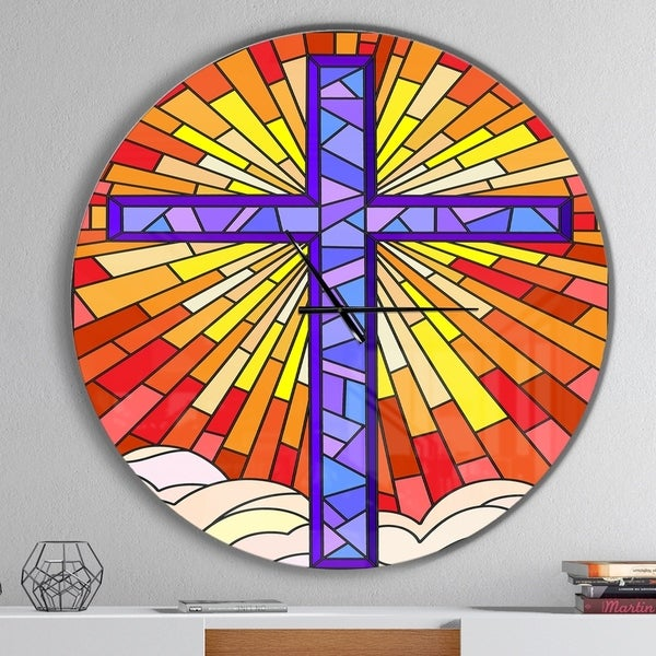 Designart 'Holy Cross Stained Glass Style' Oversized Rustic Wall CLock