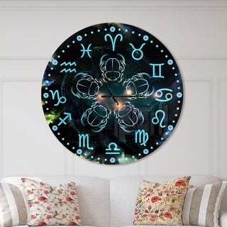 Designart 'Astrology with scarabs' Oversized Contemporary Wall CLock