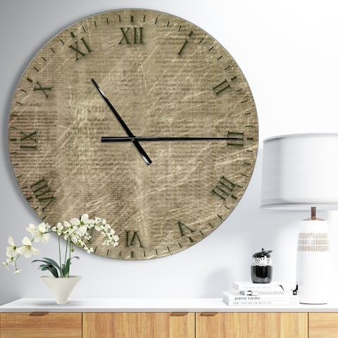 Designart 'Antique Old Paper Style' Oversized Farmhouse Wall CLock