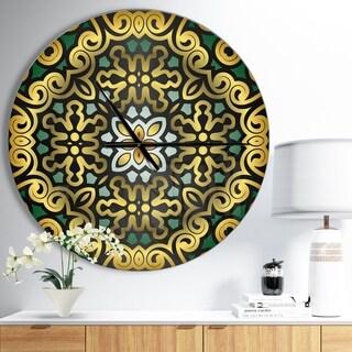 Designart 'Ethnic Floral Geometric Ornament' Oversized Contemporary Wall CLock