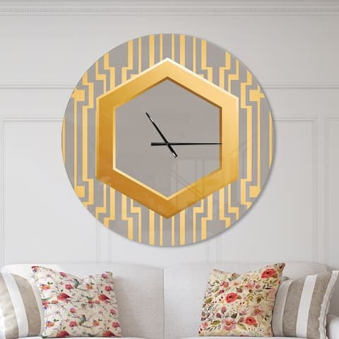 Designart 'Vintage Gold and Grey design' Oversized Shabby Chic Wall CLock