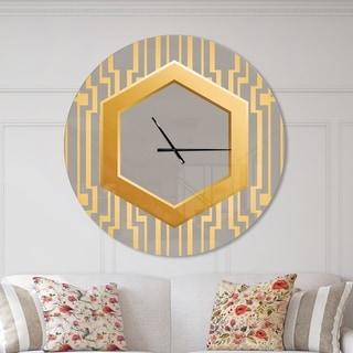 Designart 'Vintage Gold and Grey design' Oversized Shabby Chic Wall CLock