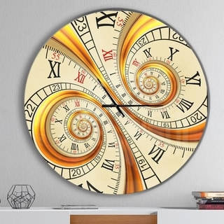Designart 'Silver metal flower fractal' Oversized Contemporary Wall CLock