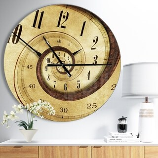Designart 'Vintage Time Spiral' Oversized Contemporary Wall CLock