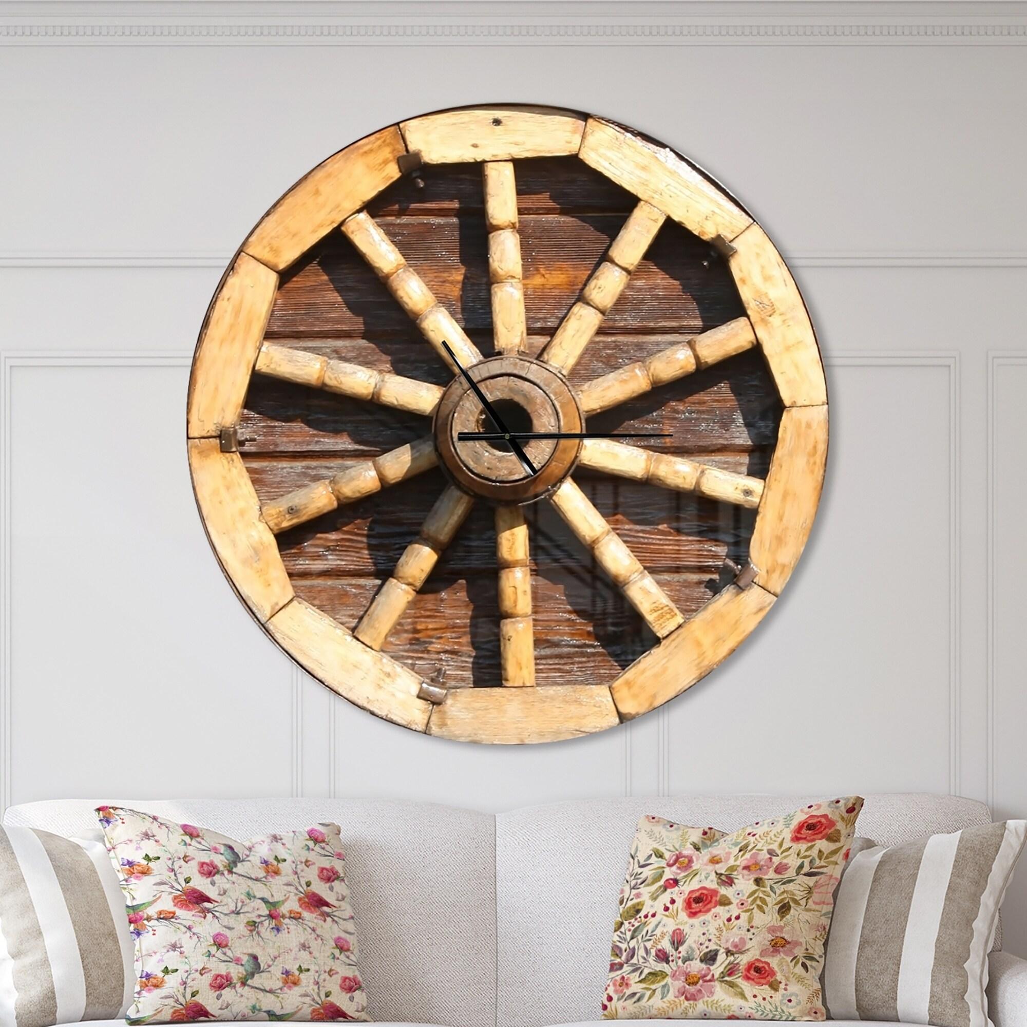 Designart Antique Wagon Wheel Oversized Farmhouse Wall Clock