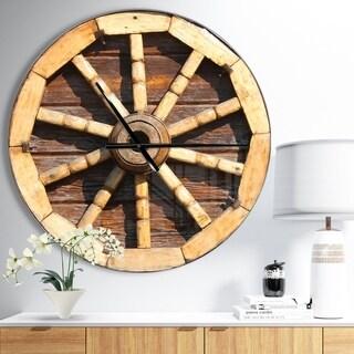 Designart 'Antique Wagon Wheel' Oversized Farmhouse Wall CLock