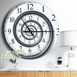 Designart 'Time Spiral Analog Wall' Oversized Contemporary Metal Clock