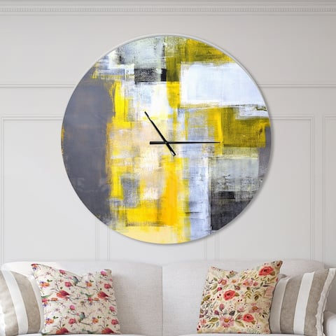 Designart 'Grey and Yellow Blur Abstract' Oversized Modern Wall CLock