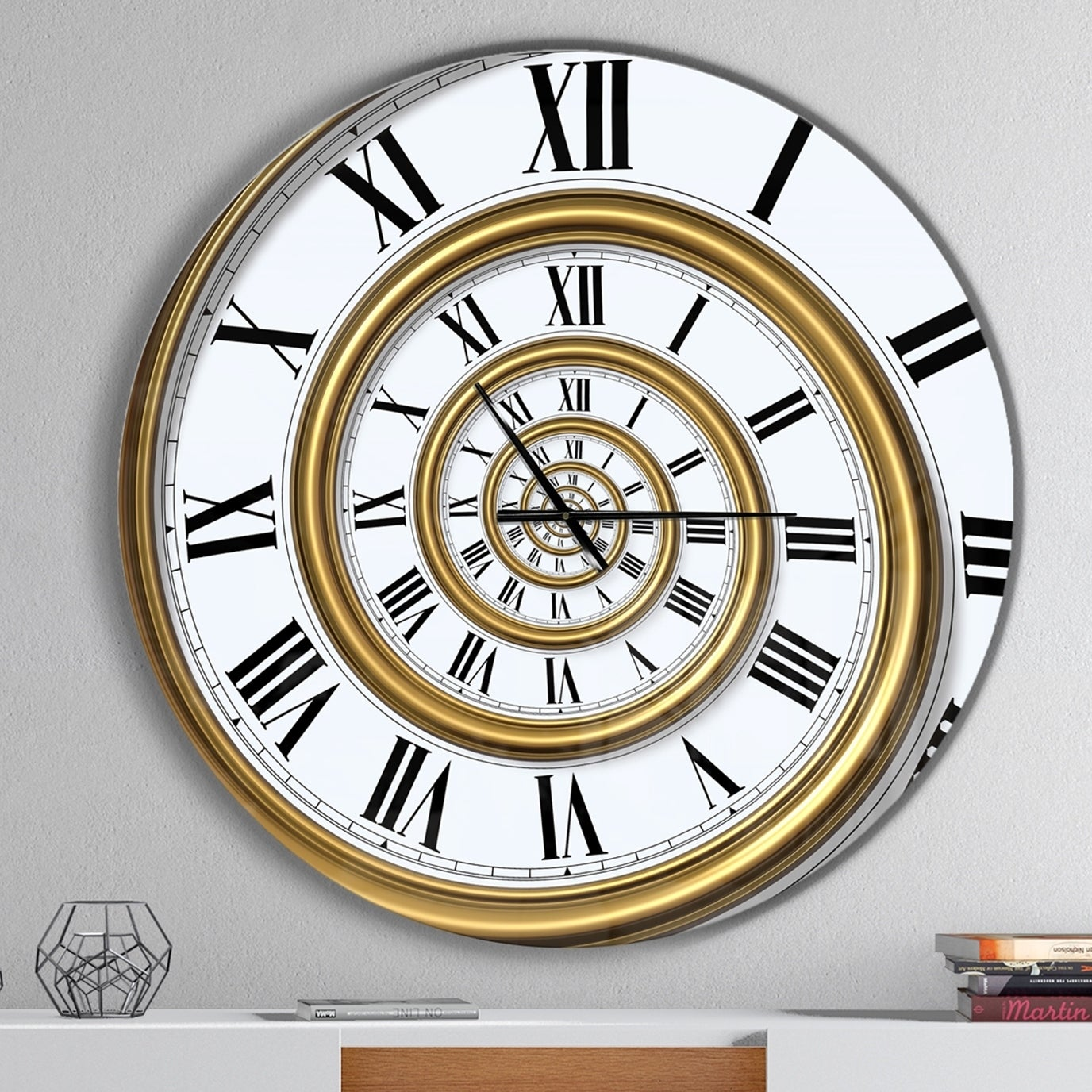Designart Time Spiral In Antique Style Oversized Contemporary Wall Clock Overstock 23534655