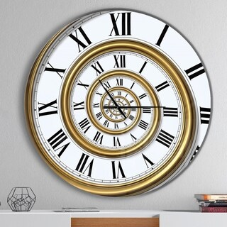 Designart 'Time Spiral in Antique Style' Oversized Contemporary Metal Clock