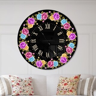 Designart 'Shabby Chic vintage Rose' Oversized Farmhouse Wall CLock