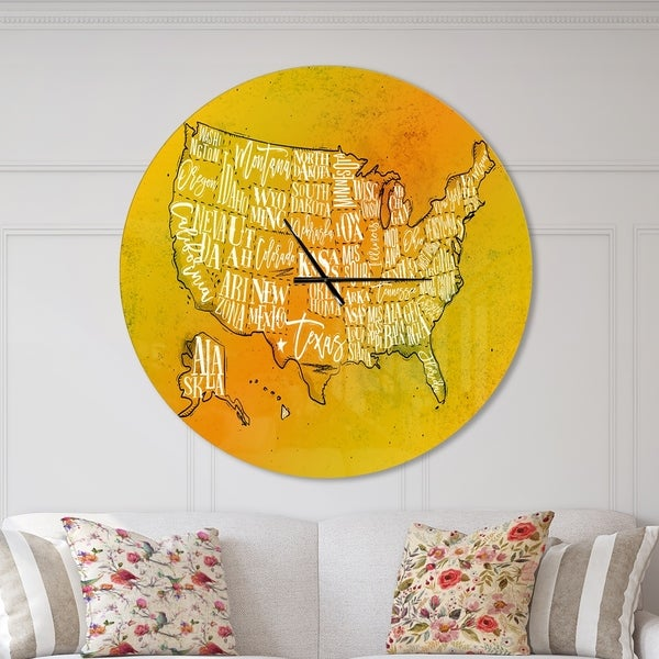 Designart 'United States Yellow Vintage Map' Oversized Contemporary Wall CLock