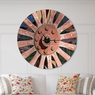 Designart 'Red Metal Country Wagon Wheel' Oversized Farmhouse Wall CLock