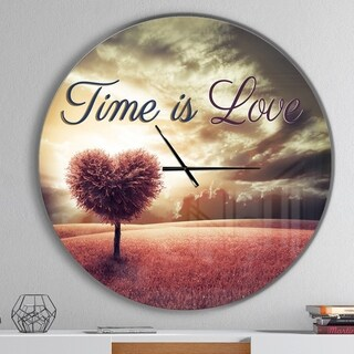 Designart 'Time is Love Pink Heart Tree' Oversized Quote Metal Clock