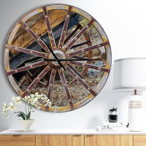 Designart 'Antique Cottage Wood Cart Wheel' Oversized Rustic Wall CLock
