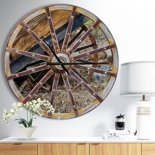 Link to Designart 'Antique Cottage Wood Cart Wheel' Oversized Rustic Wall CLock (As Is Item) Similar Items in As Is