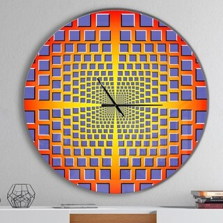 Designart 'yellow Optical Illusion' Oversized Contemporary Wall CLock