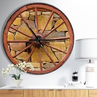 Designart 'Old Wooden Country Wheel' Oversized Rustic Wall CLock