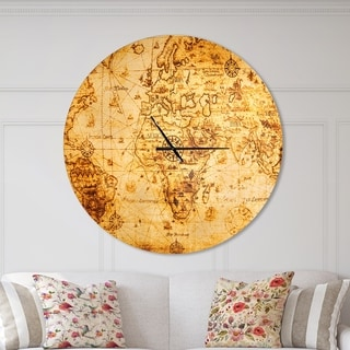 Designart 'Magnifying Glass on World Map' Oversized Global Wall CLock