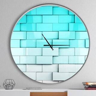 Designart 'Blue Mosaic Cubes' Oversized Modern Wall CLock