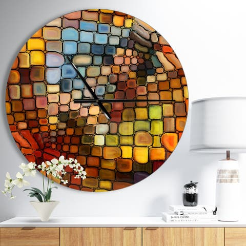 Designart 'Dreaming of Stained Glass' Large Modern Wall CLock