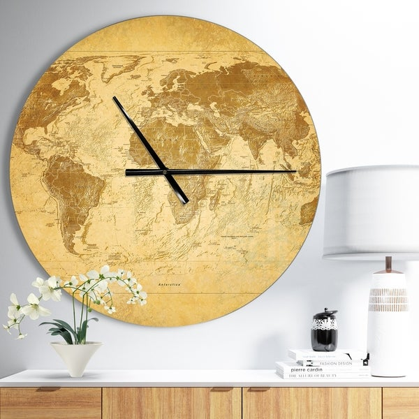 Designart 'Vintage Classic Map' Oversized Global Metal Clock