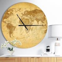 Designart 'Vintage Classic Map' Oversized Global Metal Clock