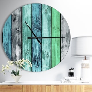 Designart 'Painted Wooden Planks' Oversized Modern Wall CLock