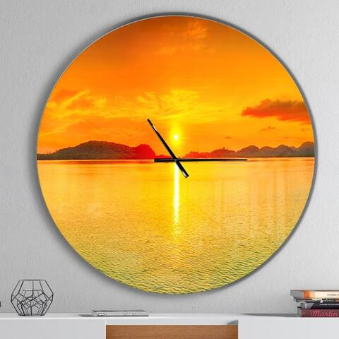 Designart 'Sunset Panorama' Oversized Coastal Wall CLock